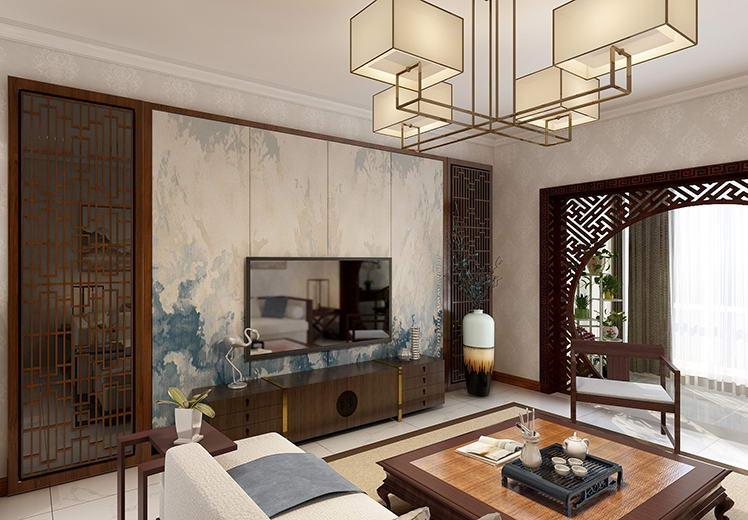 盛世嘉园80平方两室两厅新中式风格万博官网效果图