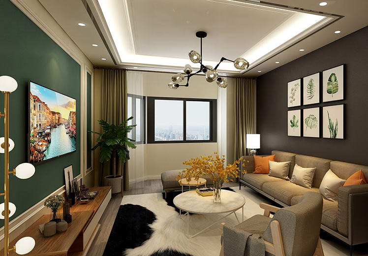 金色时光130平方三室两厅北欧风格万博官网效果图