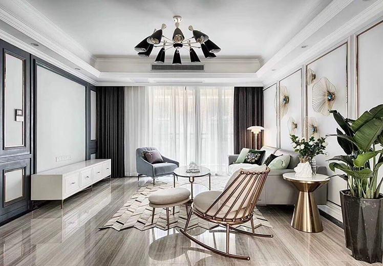 恒福大厦110平方三室两厅美式风格万博官网效果图