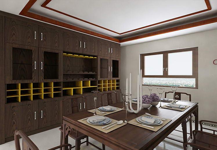 世界冠郡154平方四室两厅新中式风格万博官网效果图