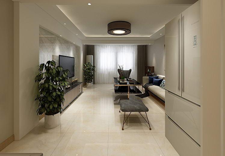 格林威治城121平方三室两厅现代风格万博官网效果图