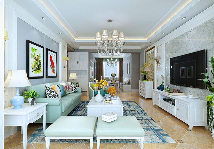 山水兰德115平方三室两厅美式风格万博官网效果图