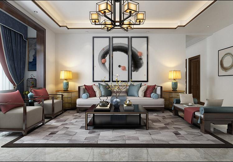 中泰雅居115平方三室两厅新中式风格万博官网效果图