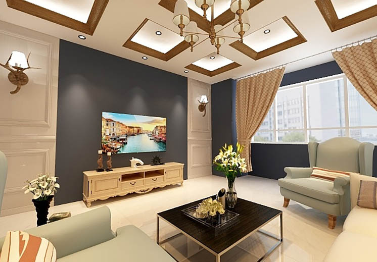 昆仑公馆106平方三室两厅美式风格万博官网效果图