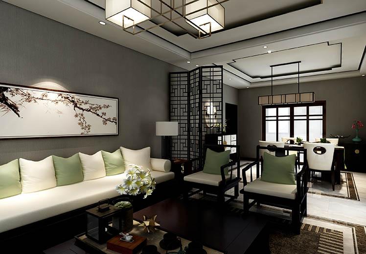 世界冠郡140平方三室两厅新中式风格万博官网效果图