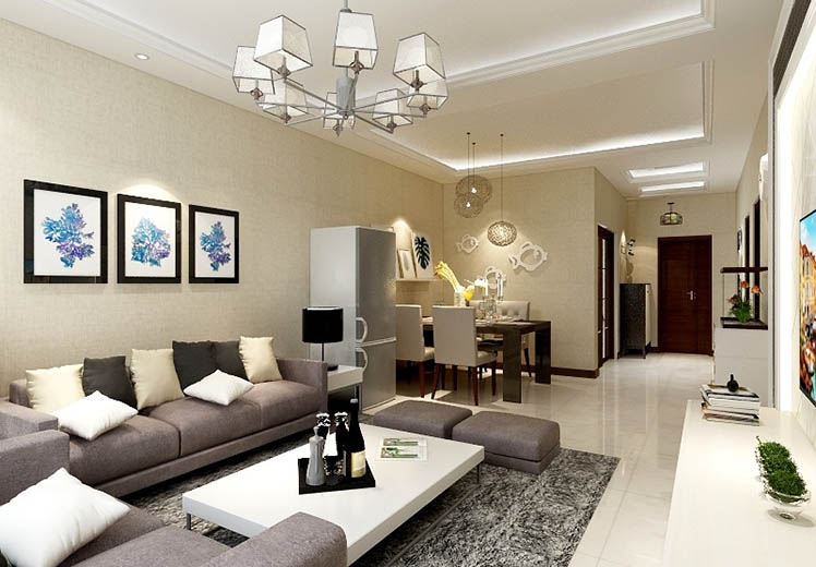 君威景苑108平方三室两厅现代简约风格万博官网效果图