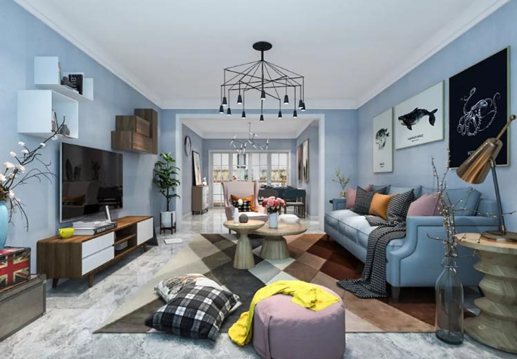 公务员小区125平方三室两厅北欧风格新万博体育app万效果图