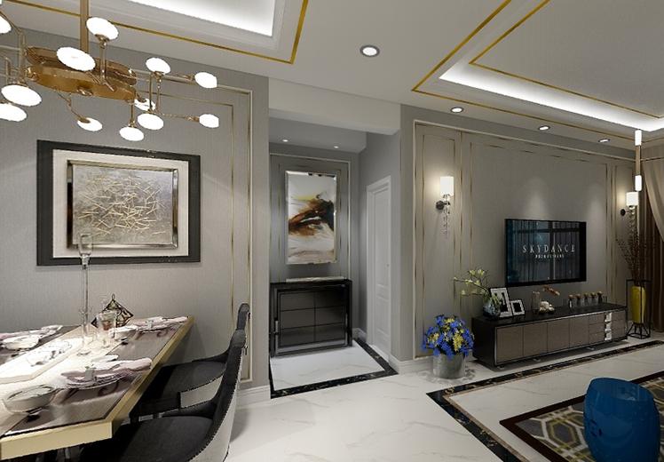 丽景中央城110平方三室两厅现代轻奢风格万博官网效果图