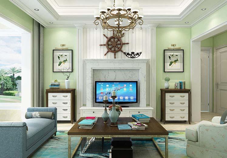 绿城翡翠园87平方三室两厅田园风格万博官网效果图