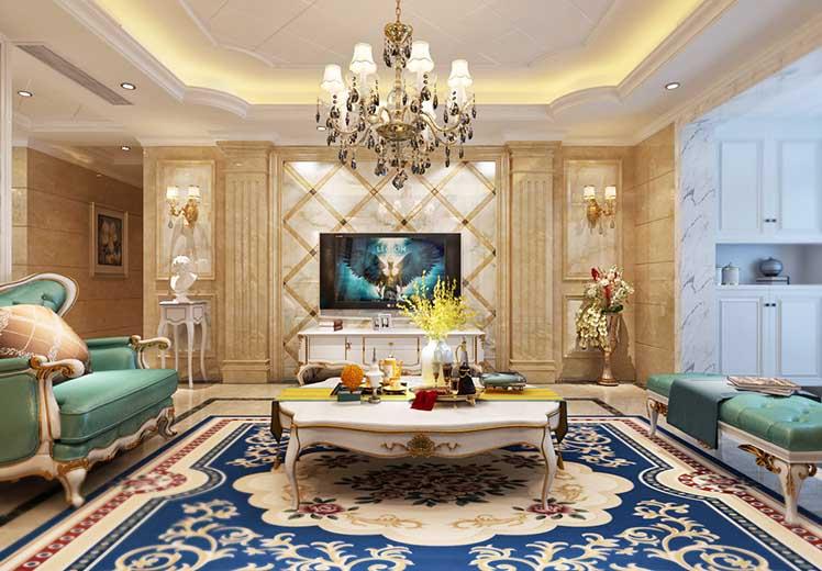 绿城翡翠园115平方三室两厅欧式风格万博官网效果图