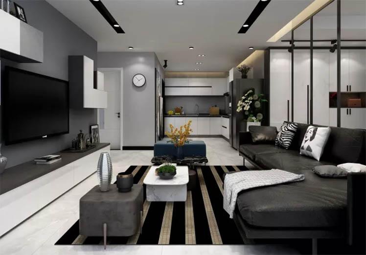 荣和城128平方三室两厅现代风格新万博体育app万效果图