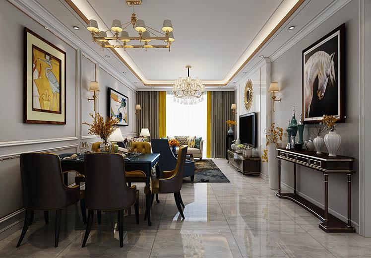 华域龙湾144平方三室两厅轻奢风格新万博体育app万效果图